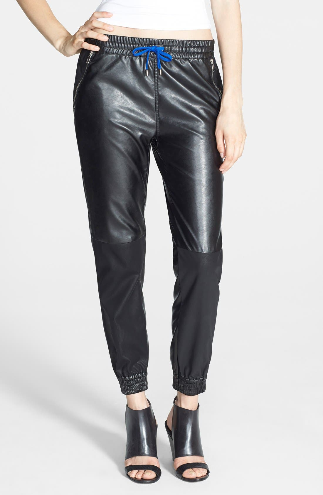 Main Image - BLANKNYC 'Face Lift' Faux Leather Track Pants