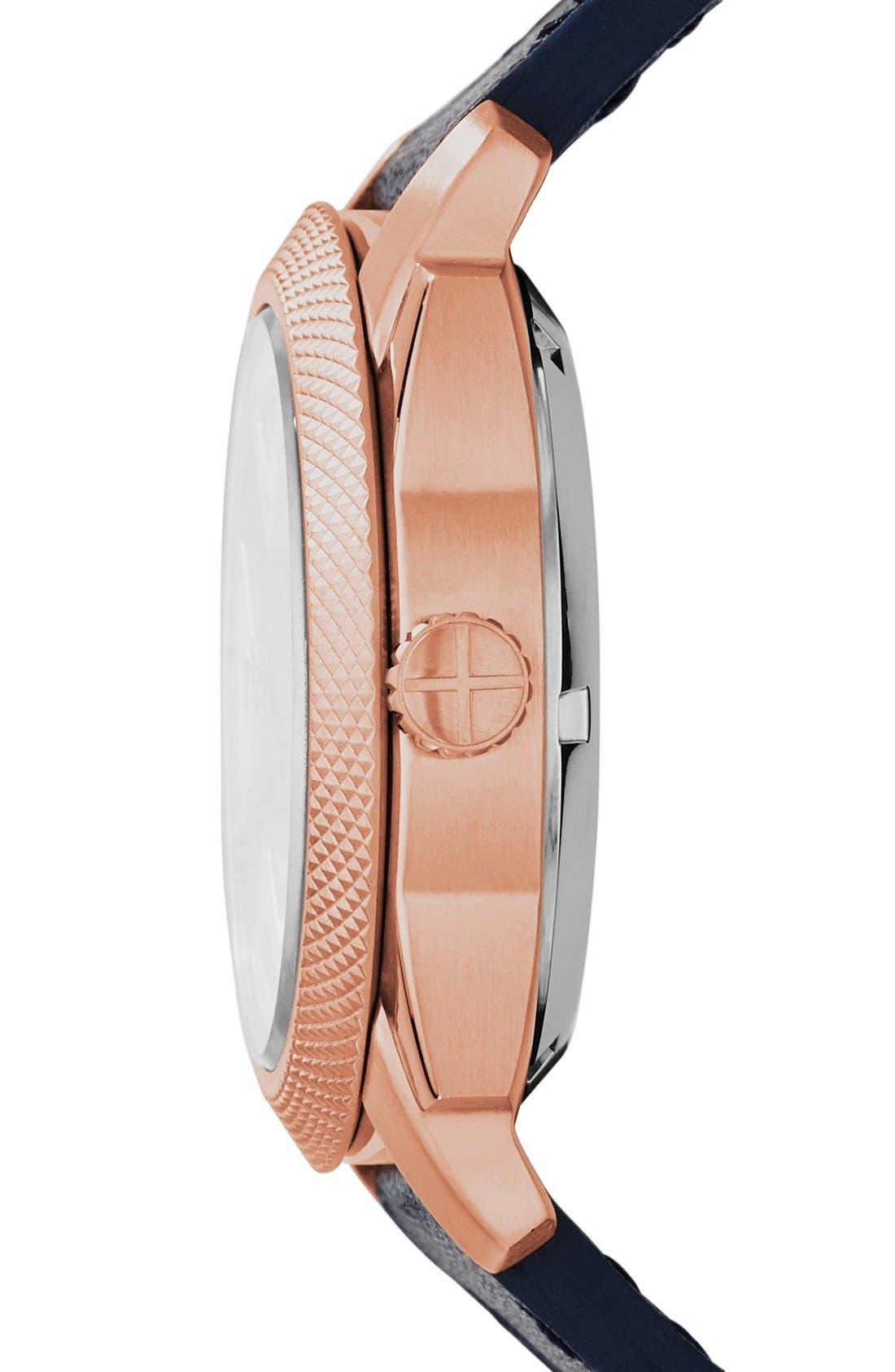 Alternate Image 3  - Fossil 'Machine Twist' Leather Strap Watch, 45mm