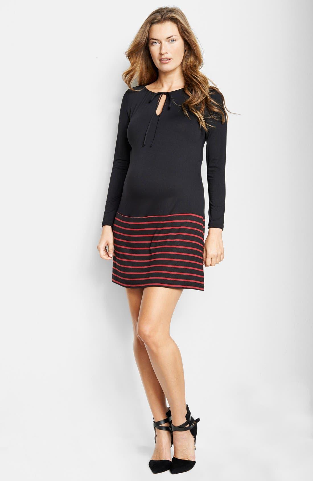 Keyhole Maternity Dress,                         Main,                         color, Black/ Wine Stripes