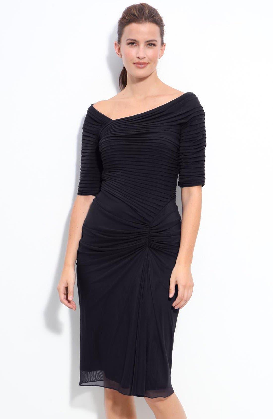 Main Image - Tadashi Shoji Asymmetrical Ruched Mesh Dress