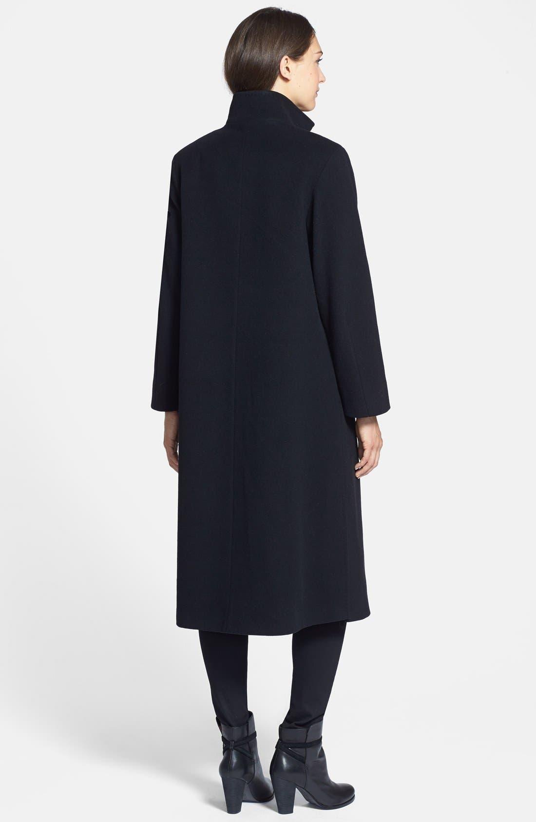 Alternate Image 2  - Cinzia Rocca DUE Stand Collar Side Slit Long Coat (Regular & Petite)