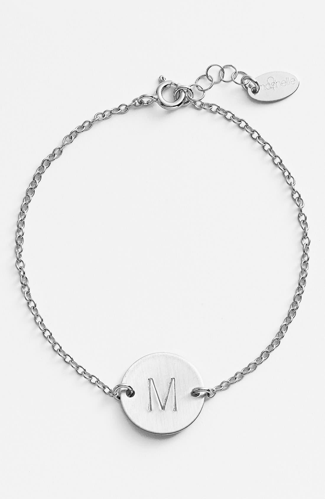 Main Image - Nashelle Sterling Silver Initial Disc Bracelet