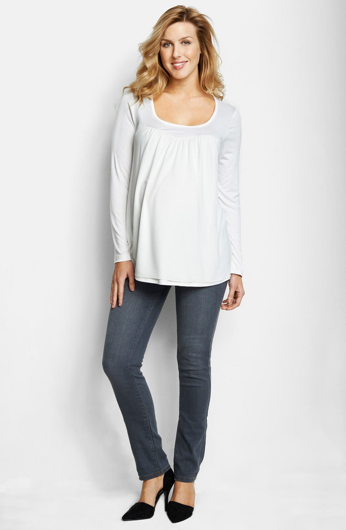 Main Image - Maternal America Chiffon Knit Maternity Top