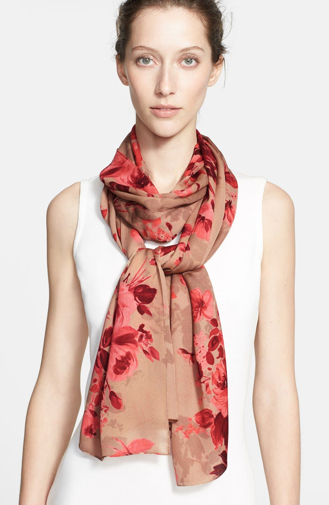 Main Image - St. John Collection Bouquet Print Silk Georgette Scarf