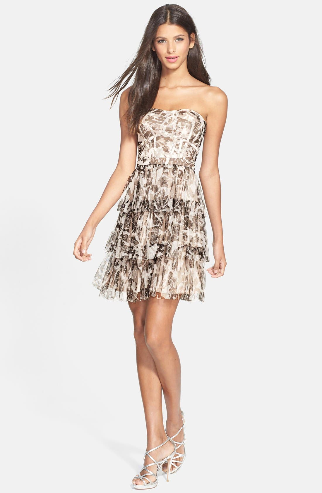 Alternate Image 3  - Hailey by Adrianna Papell Glitter Camo Print Tiered Dress