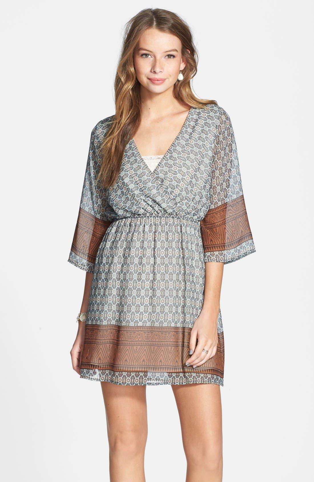 Main Image - Everly Border Print Surplice Dress (Juniors)