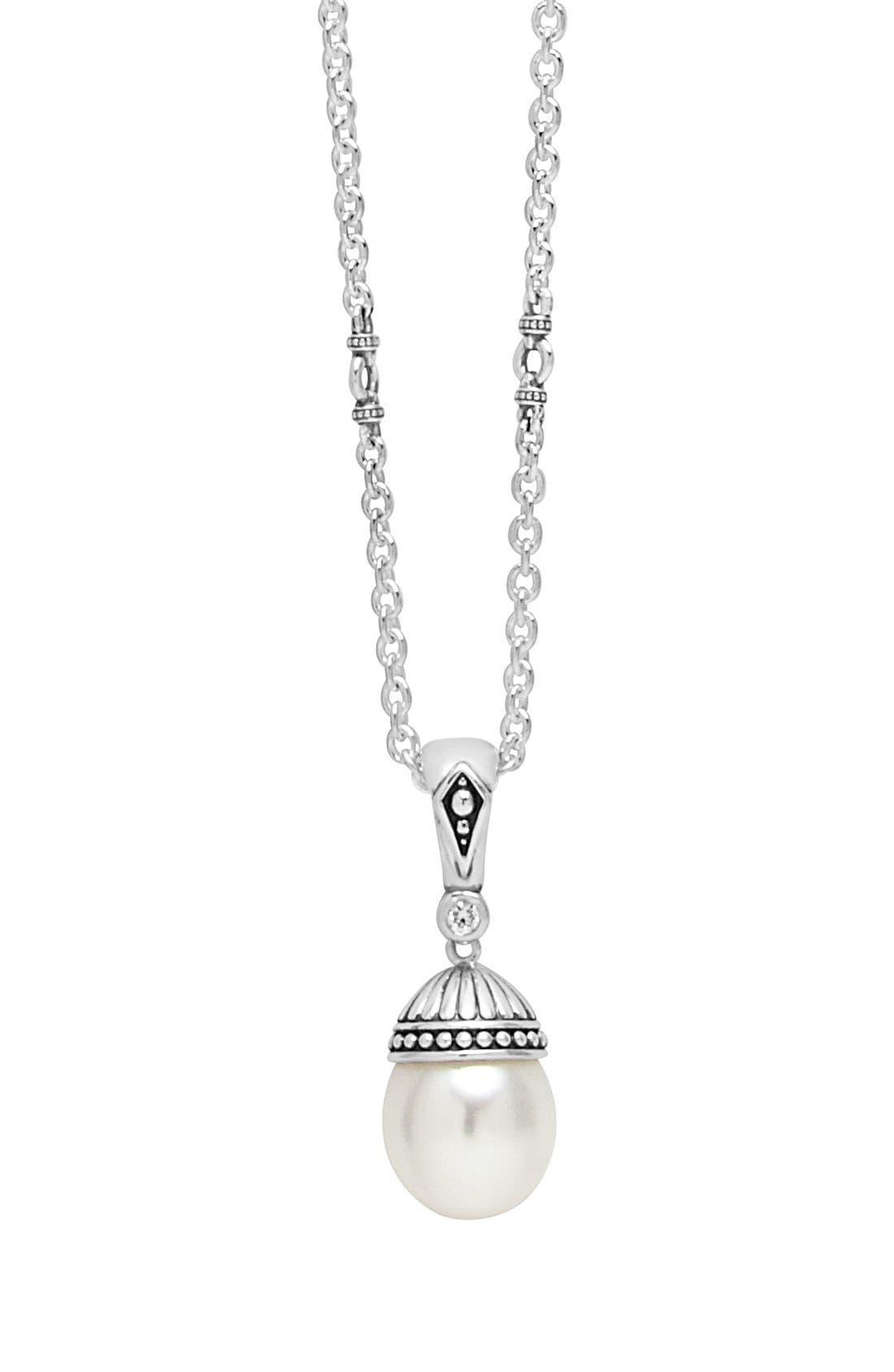 Alternate Image 1 Selected - LAGOS 'Luna' Pearl & Diamond Pendant Necklace