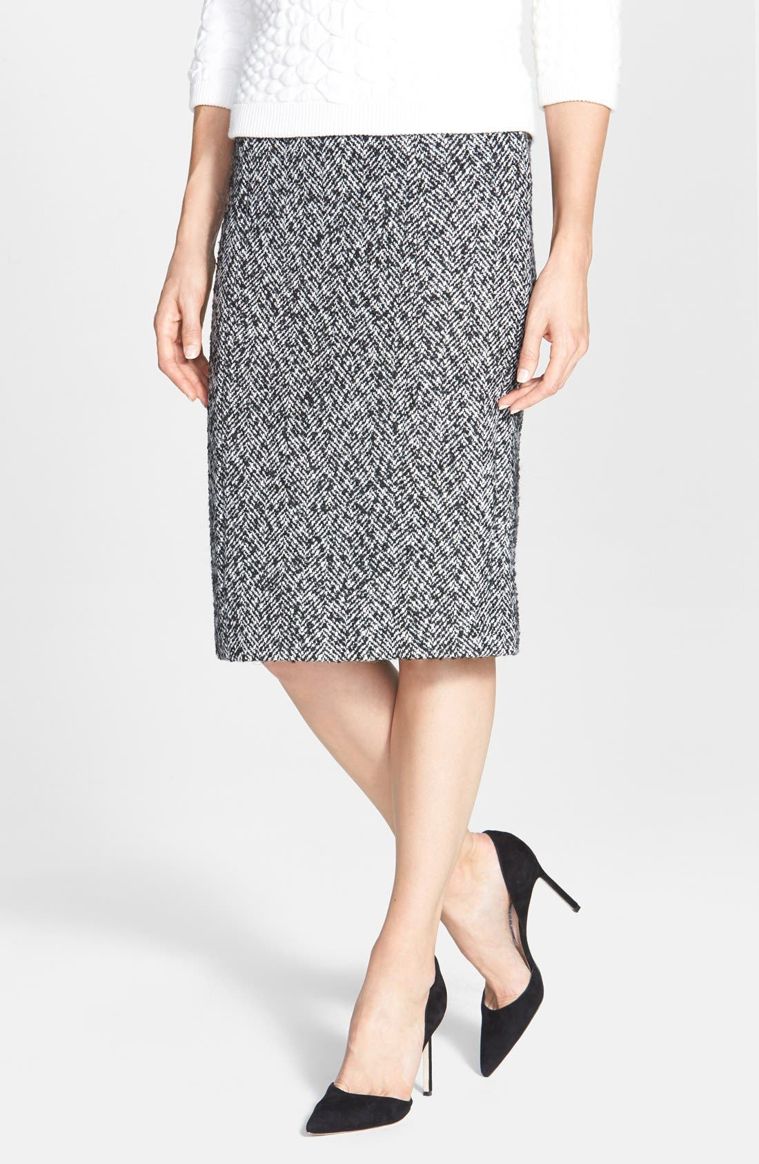 Main Image - Pink Tartan Herringbone Pencil Skirt