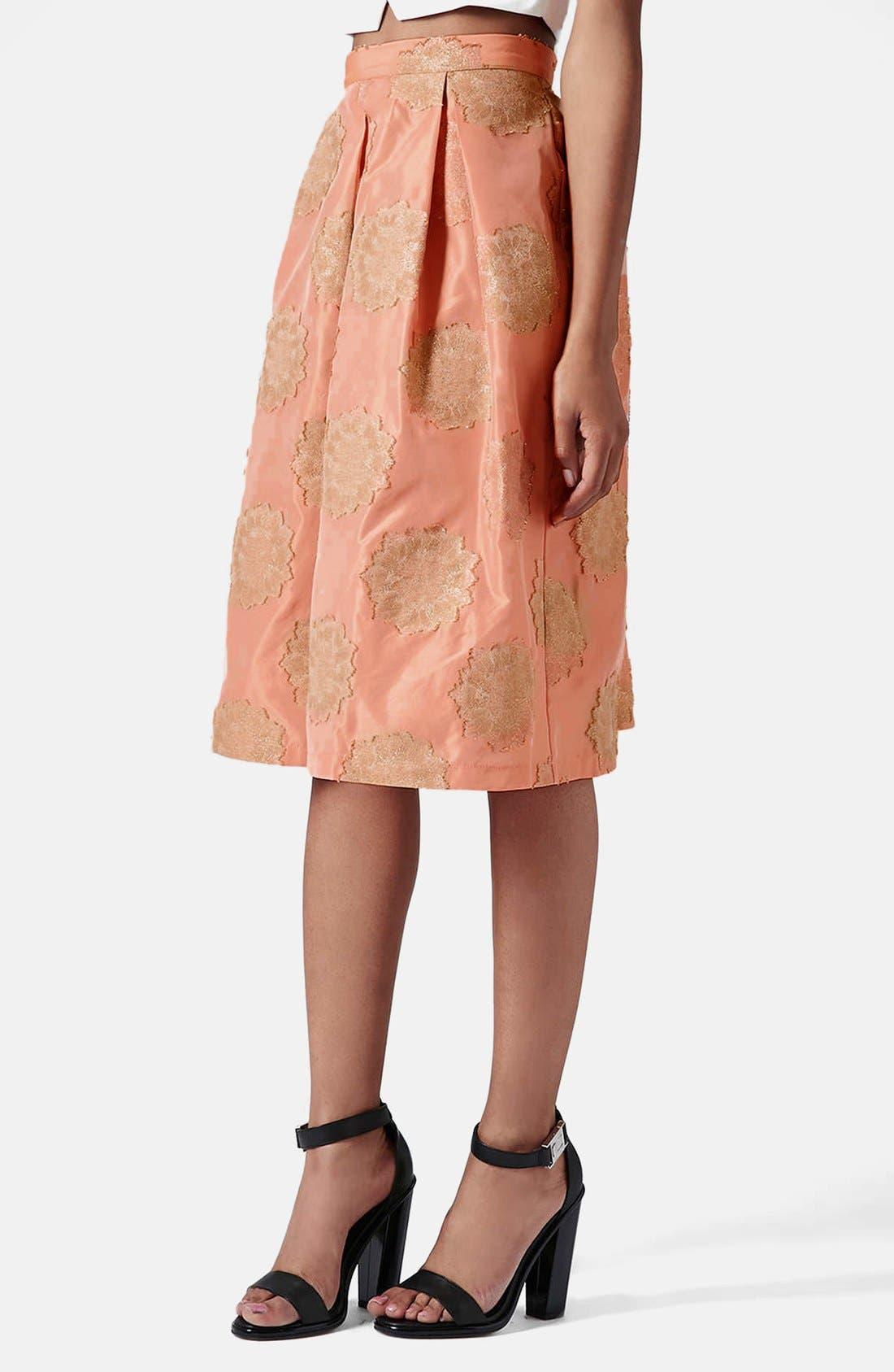 Main Image - Topshop Metallic Lace Jacquard Midi Skirt