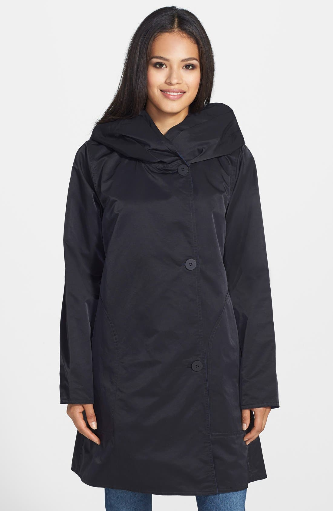 Alternate Image 1 Selected - Eileen Fisher Contrast Lined Reversible Hooded A-Line Coat (Regular & Petite)