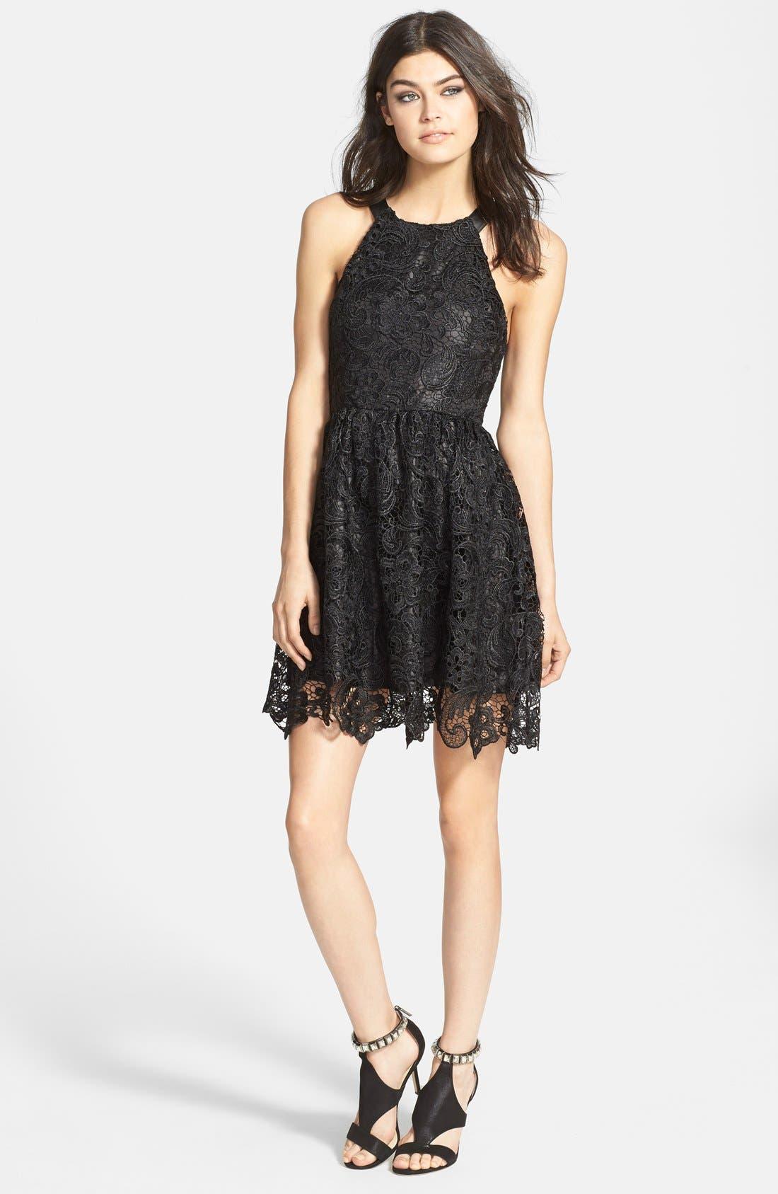 ASTR Faux Leather Trim Lace Dress,                             Main thumbnail 1, color,                             Black