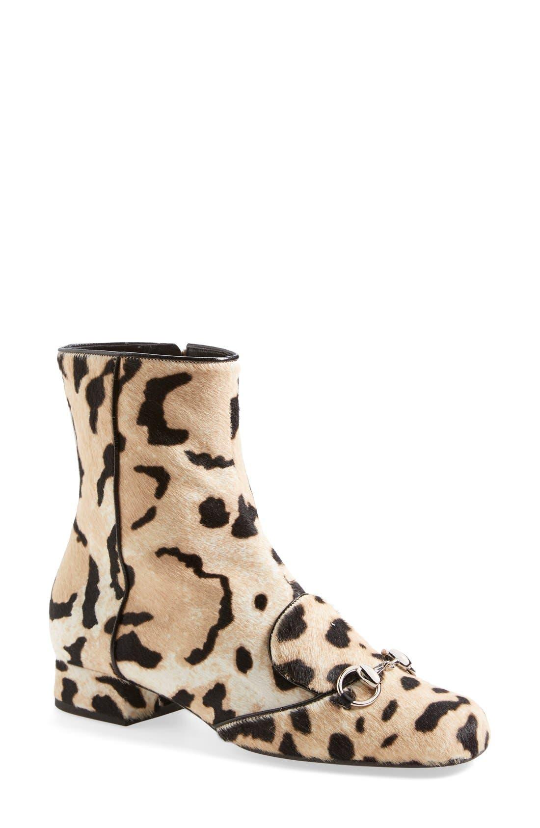 Main Image - Gucci 'Lillian' Horsebit Animal Print Calf Hair Short Bootie (Women)