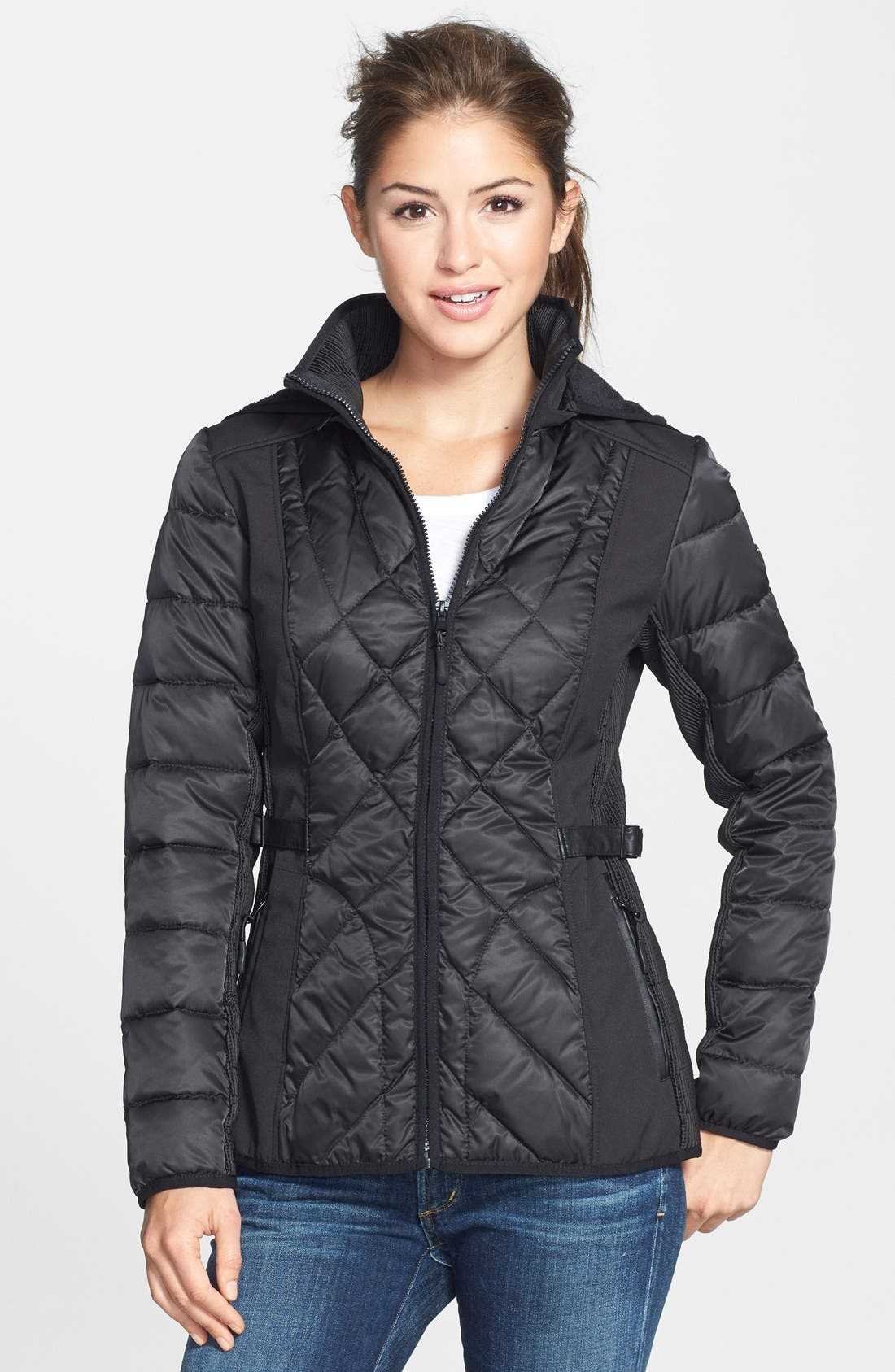 Main Image - 1 Madison Mixed Media Soft Shell Jacket with Removable Hood (Online Only)