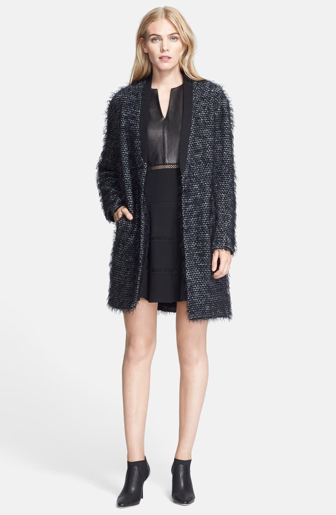 Tweed Long Coat,                             Main thumbnail 1, color,                             Black Multi