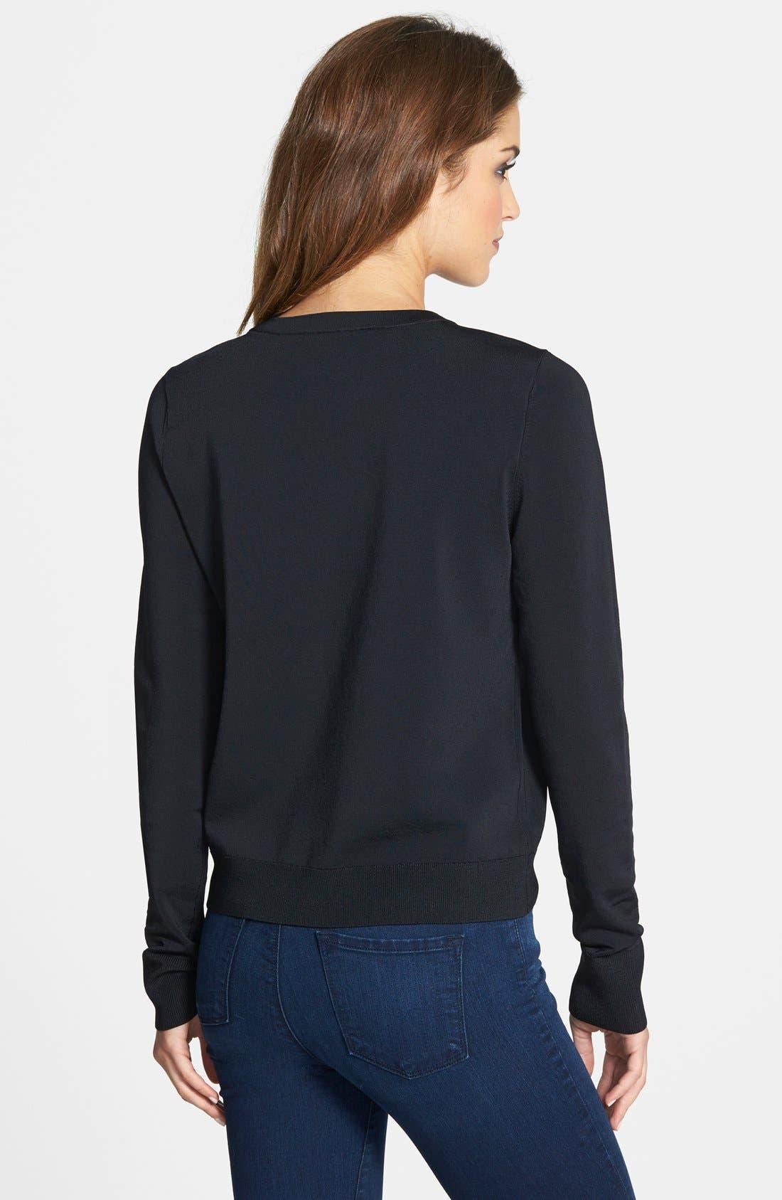 Alternate Image 2  - Halogen® Fine Gauge Crewneck Sweater (Regular & Petite)