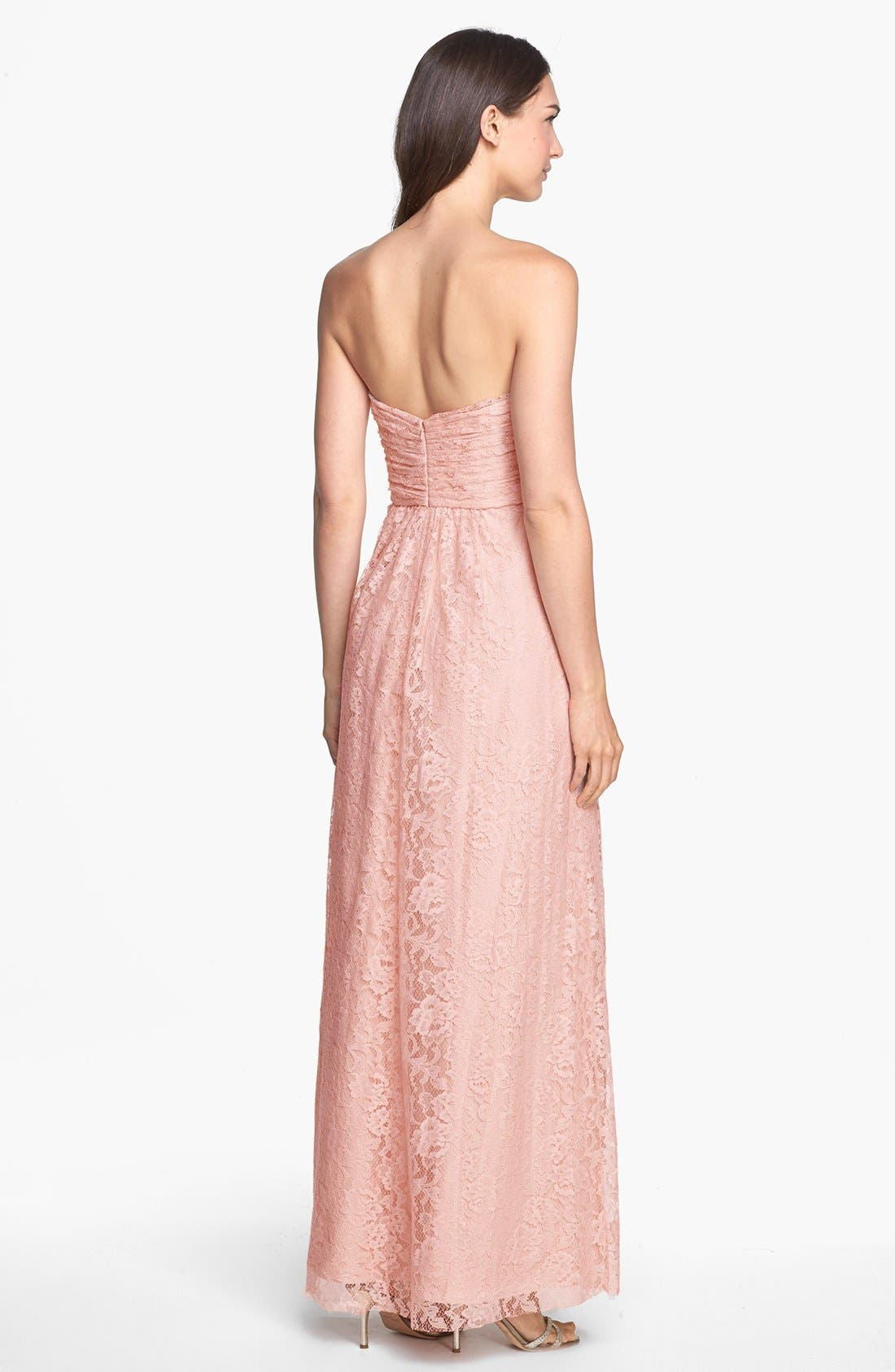 Alternate Image 2  - Amsale Pleated Lace Sweetheart Strapless Gown