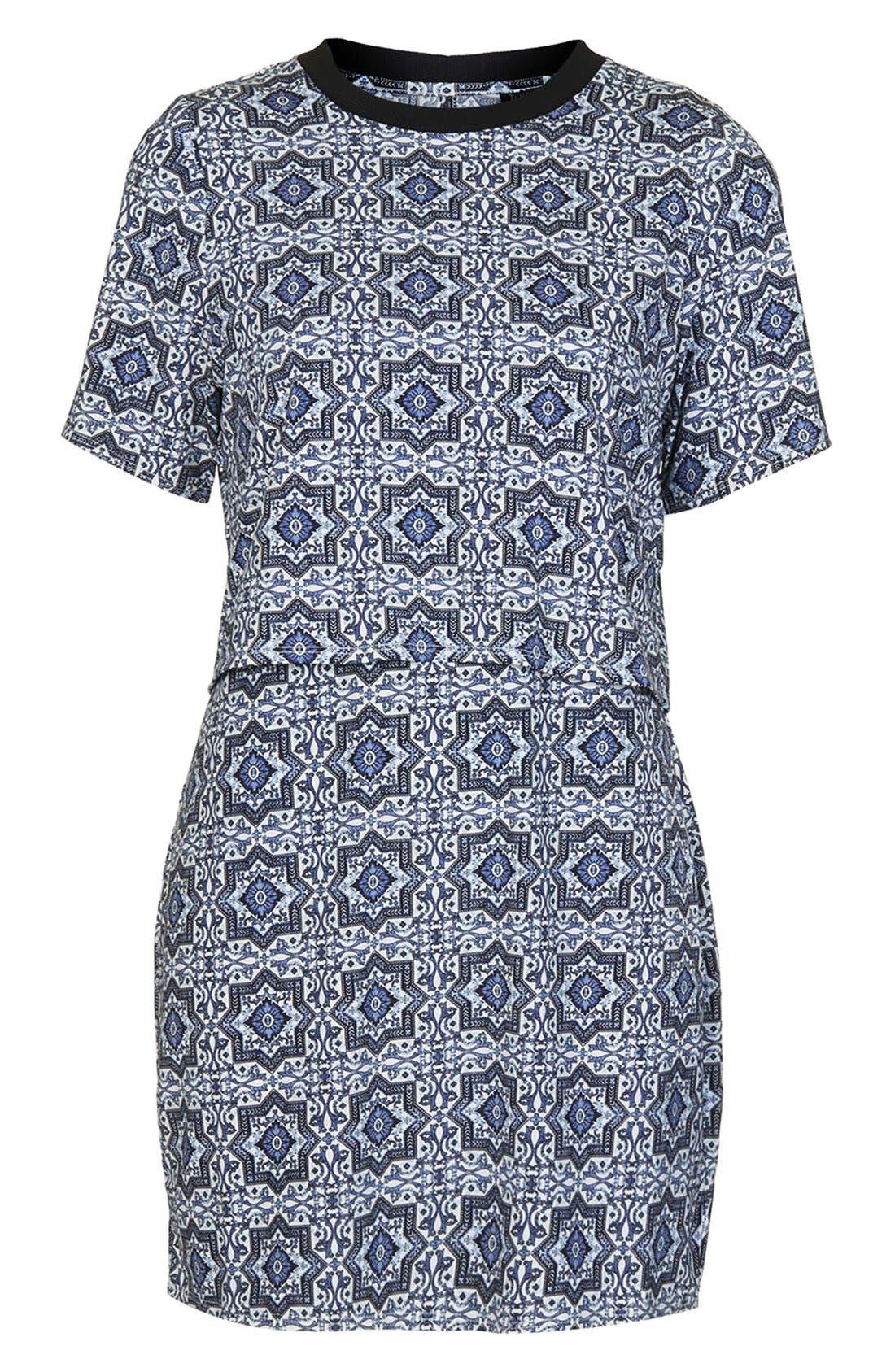 Alternate Image 3  - Topshop Tile Print Crop Overlay Dress