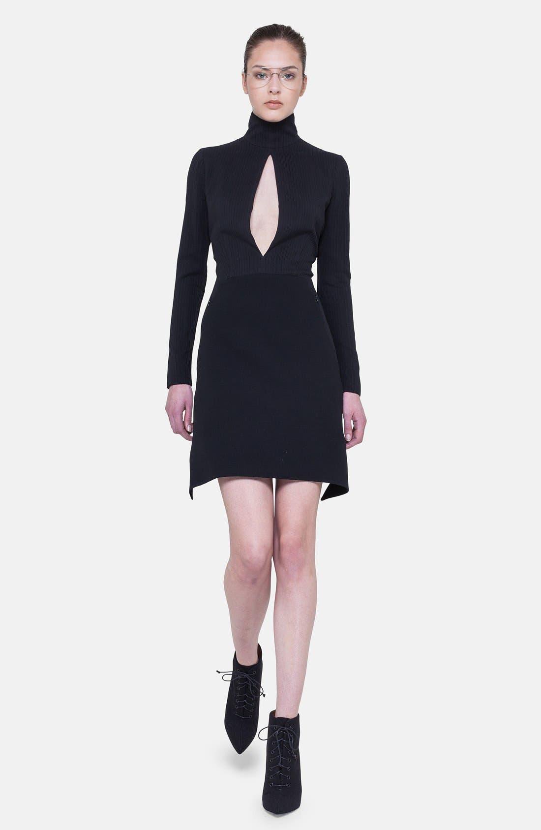 Alternate Image 1 Selected - Akris Long Sleeve Silk Plissé Detail Dress