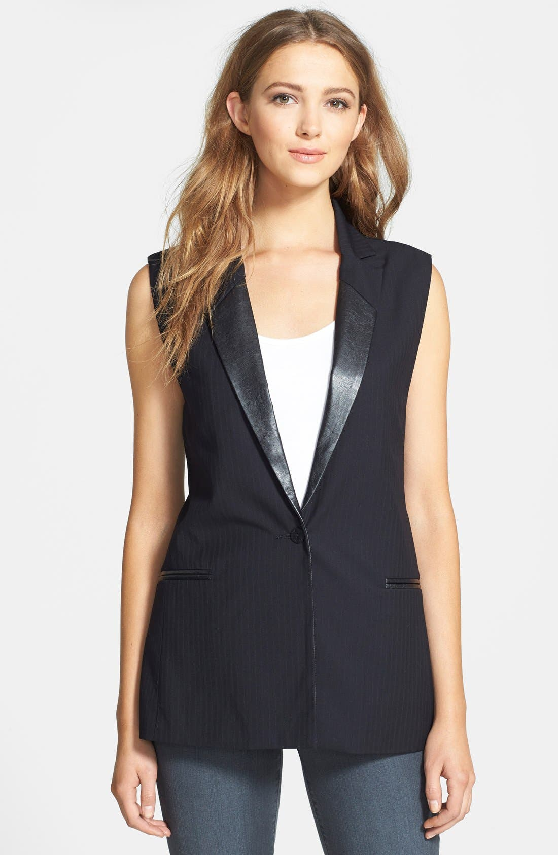 Faux Leather Trim Sleeveless Blazer,                         Main,                         color, Black