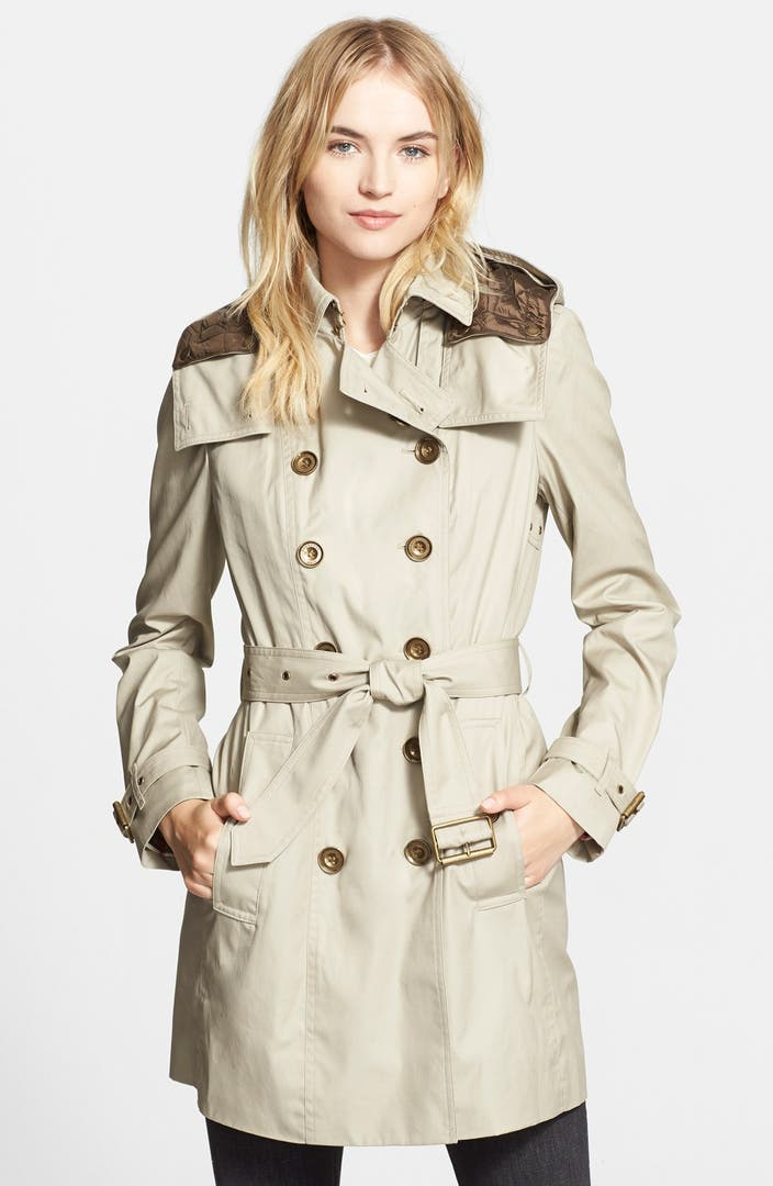 burberry brit 39 reymoore 39 trench coat with detachable hood. Black Bedroom Furniture Sets. Home Design Ideas