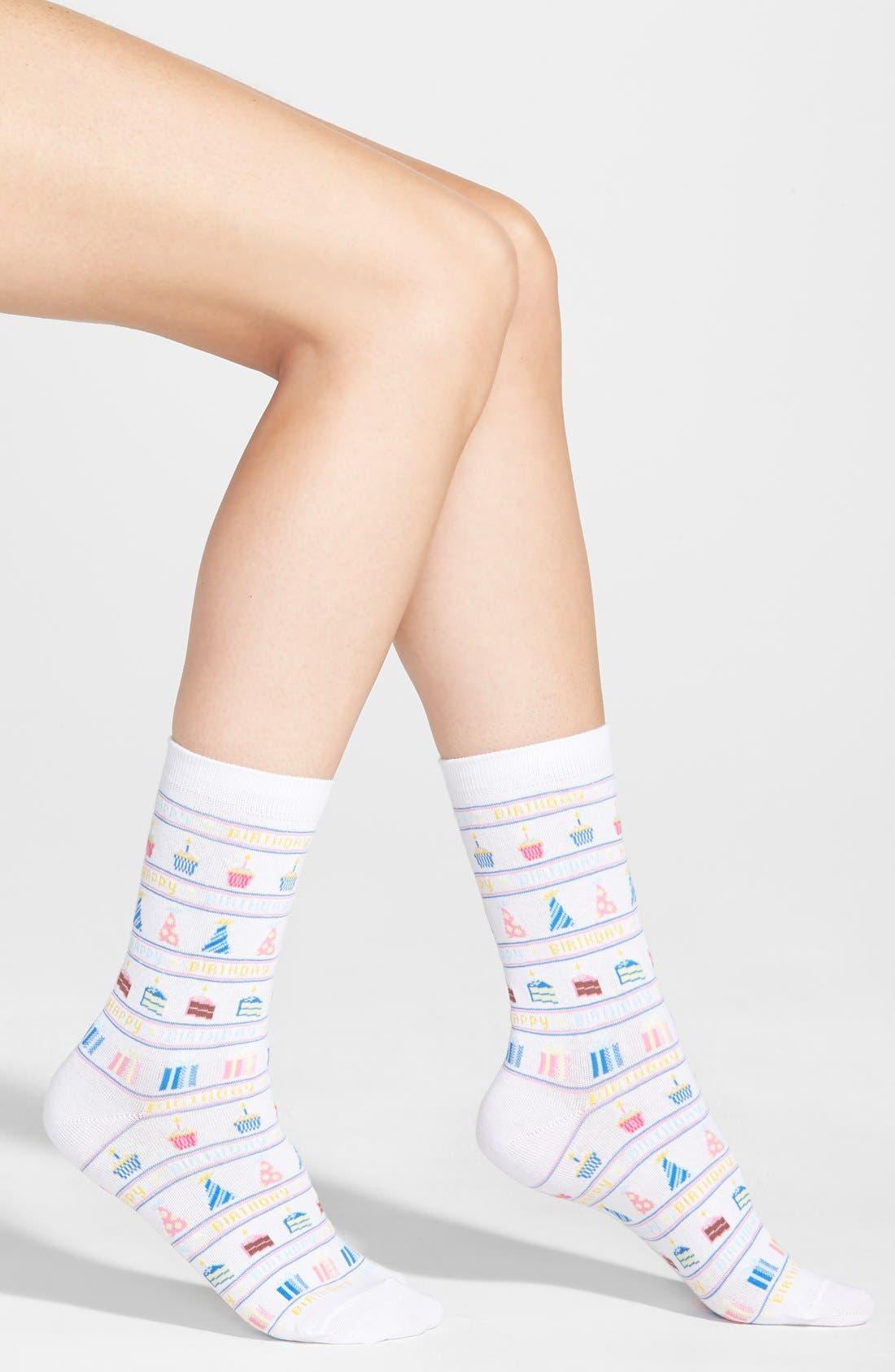 Alternate Image 1 Selected - Hot Sox 'Happy Birthday' Trouser Socks (3 for $15)