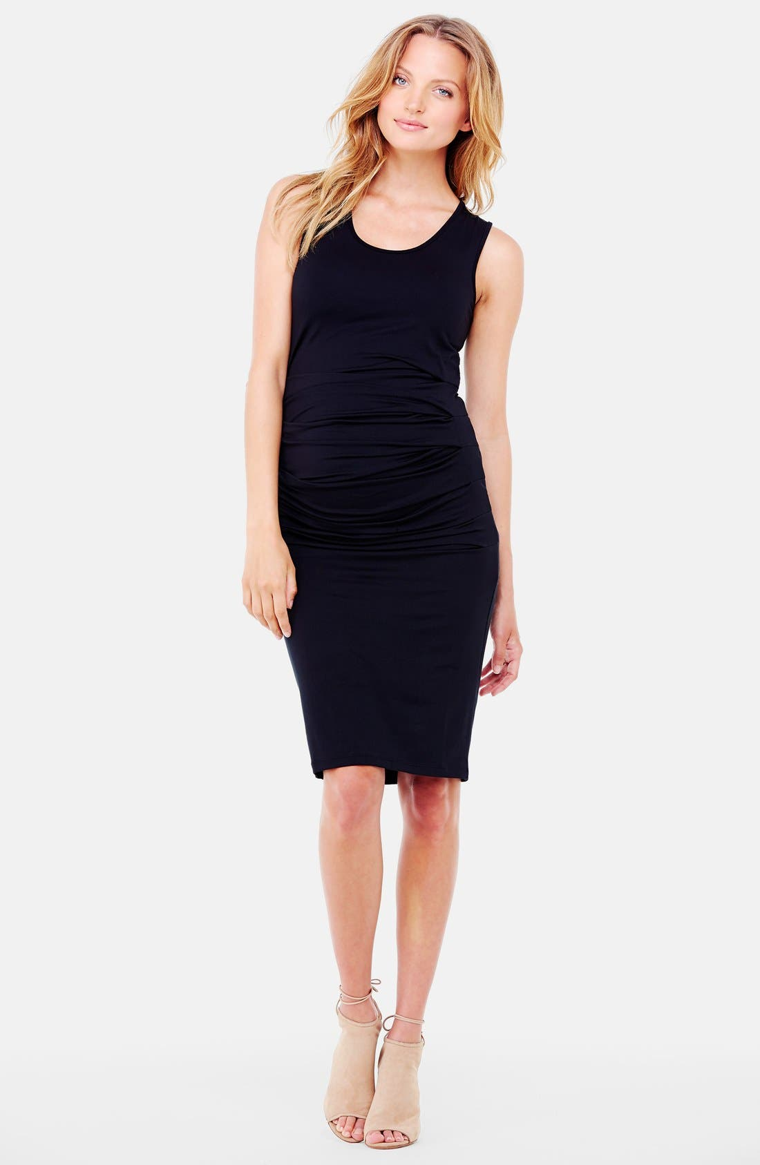 Ruched Maternity Tank Dress,                         Main,                         color, Black