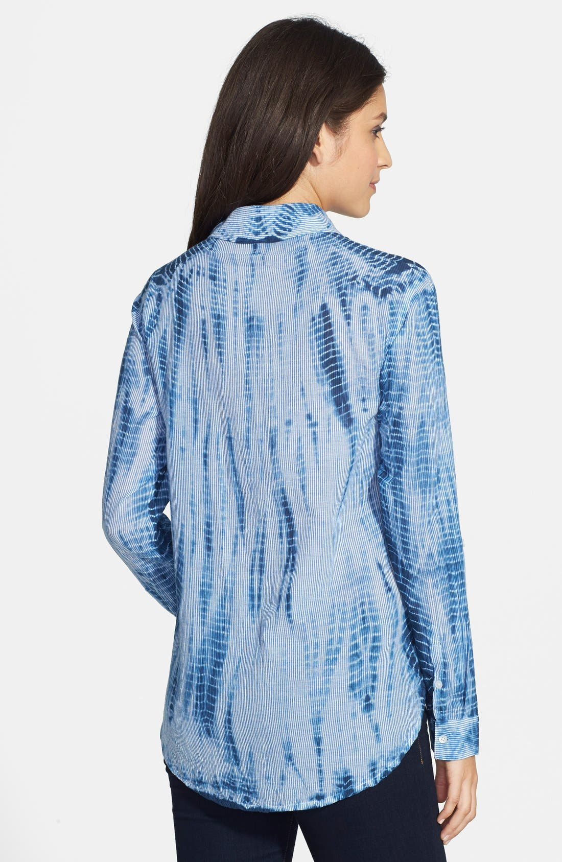 Alternate Image 2  - Chaus Tie Dye Print Roll Sleeve Cotton Shirt