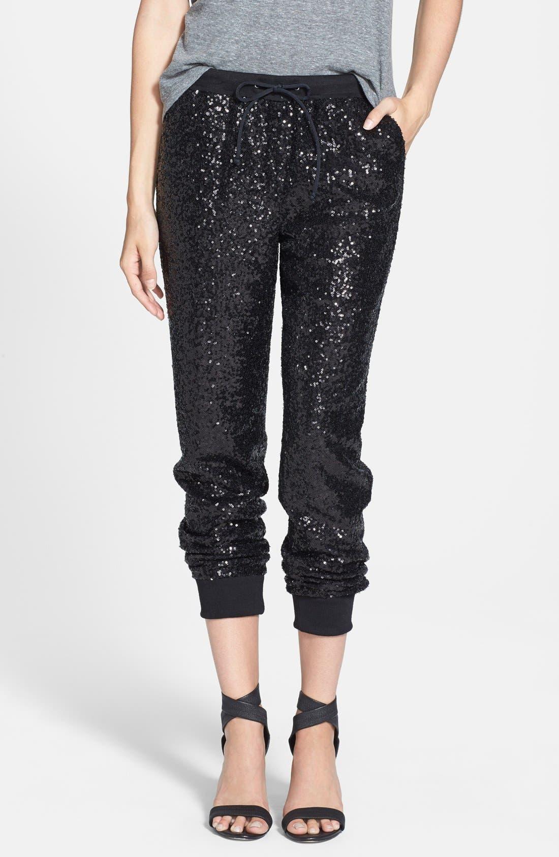 Sequin Track Pants,                         Main,                         color, Black