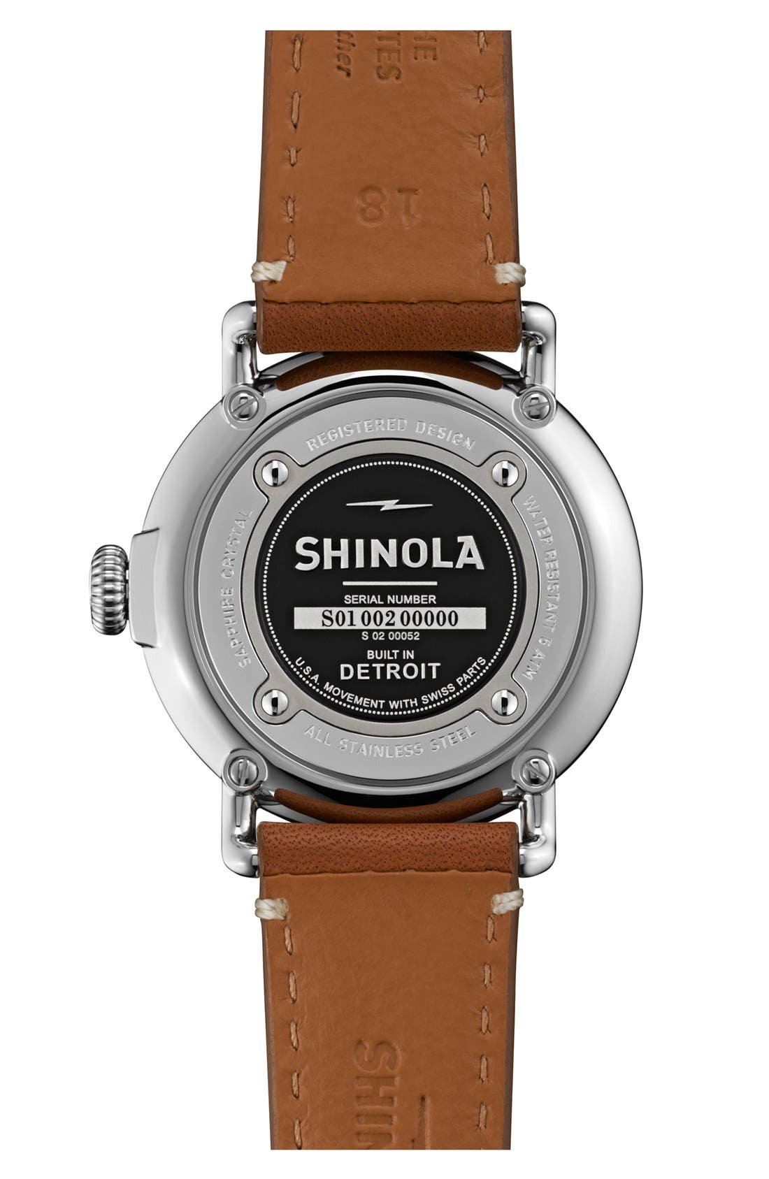 The Runwell Leather Strap Watch, 36mm,                             Alternate thumbnail 2, color,                             Brown/ White