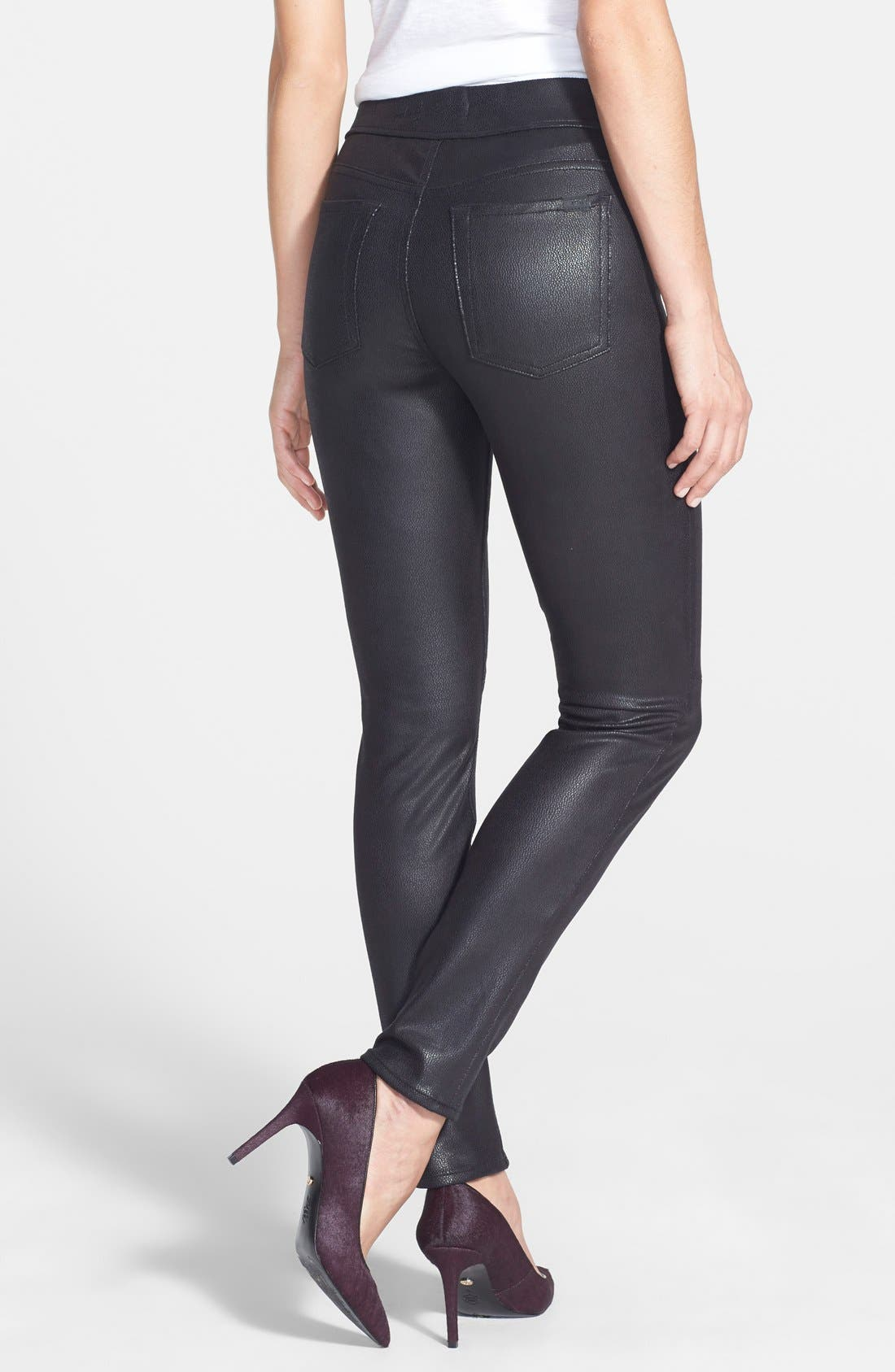 Faux Leather Ponte Skinny Jeans,                             Alternate thumbnail 2, color,                             Black