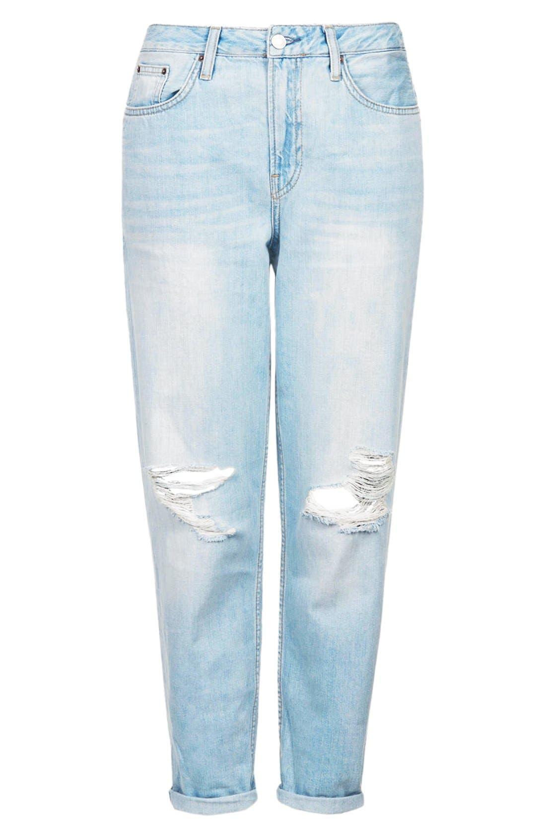 Alternate Image 3  - Topshop Moto 'Hayden' Frayed Boyfriend Jeans (Bleach Stone)