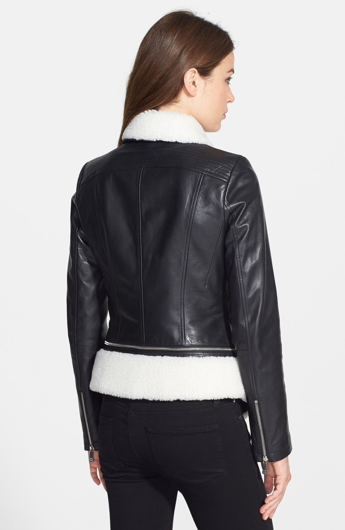 Alternate Image 2  - DL2 by Dawn Levy 'KitKat' Faux Shearling Trim Leather Jacket