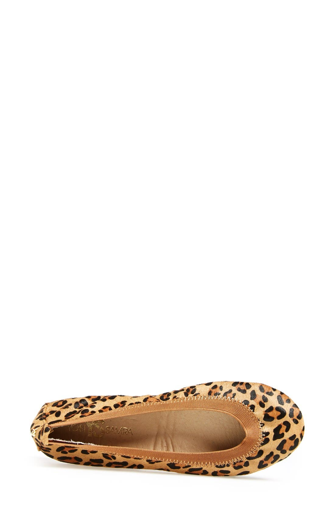 'Samara' Genuine Calf Hair Foldable Ballet Flat,                             Alternate thumbnail 3, color,                             Leopard