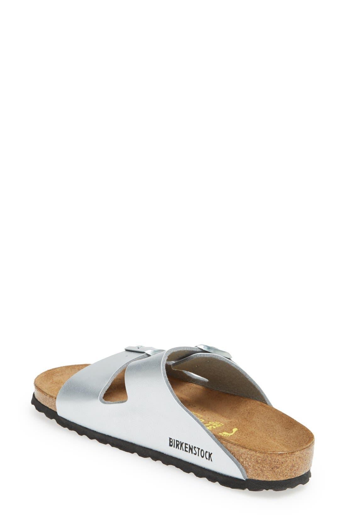 'Arizona Birko-Flor' Soft Footbed Sandal,                             Alternate thumbnail 2, color,                             Silver