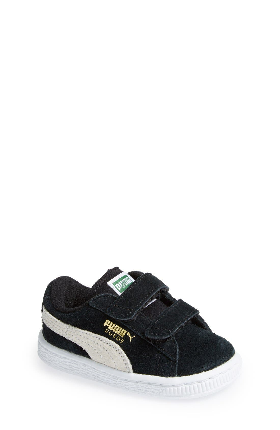 Suede Sneaker,                             Main thumbnail 1, color,                             Black/ White