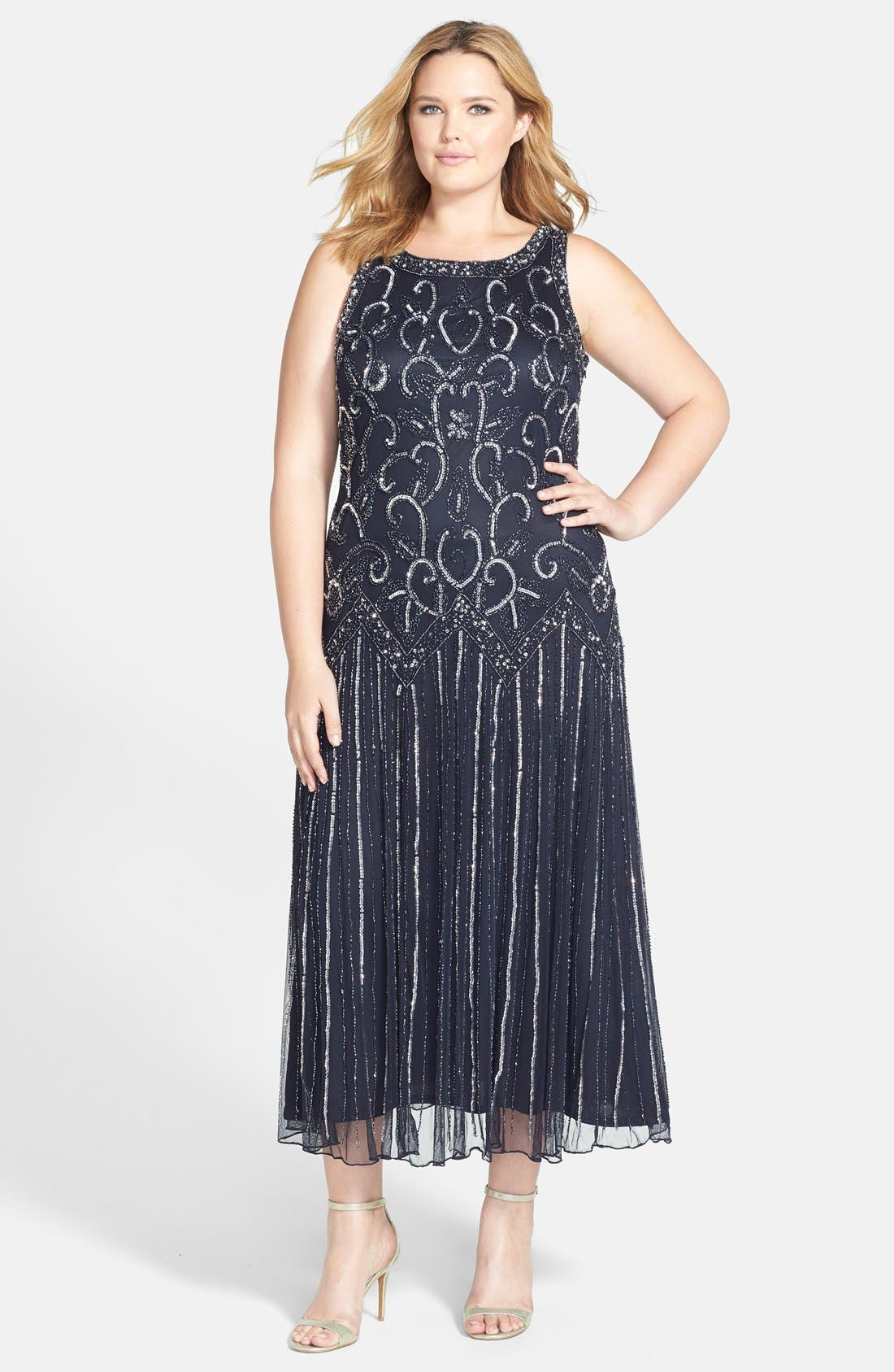 Alternate Image 1 Selected - Pisarro Nights Embellished Mesh Dress (Plus Size)