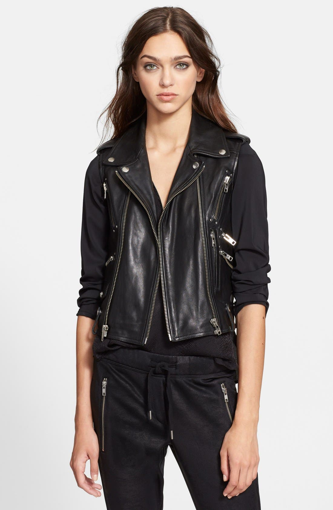 Alternate Image 1 Selected - The Kooples Leather Moto Vest