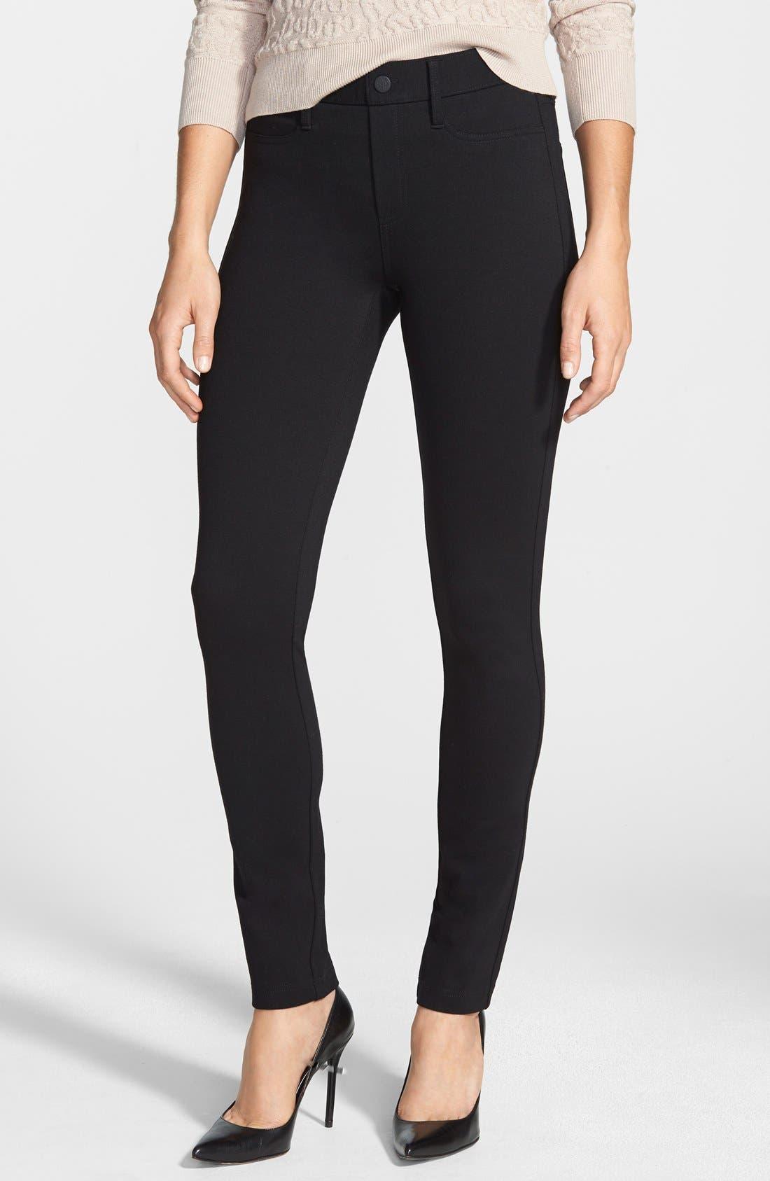 Ponte Skinny Pants,                         Main,                         color, Black