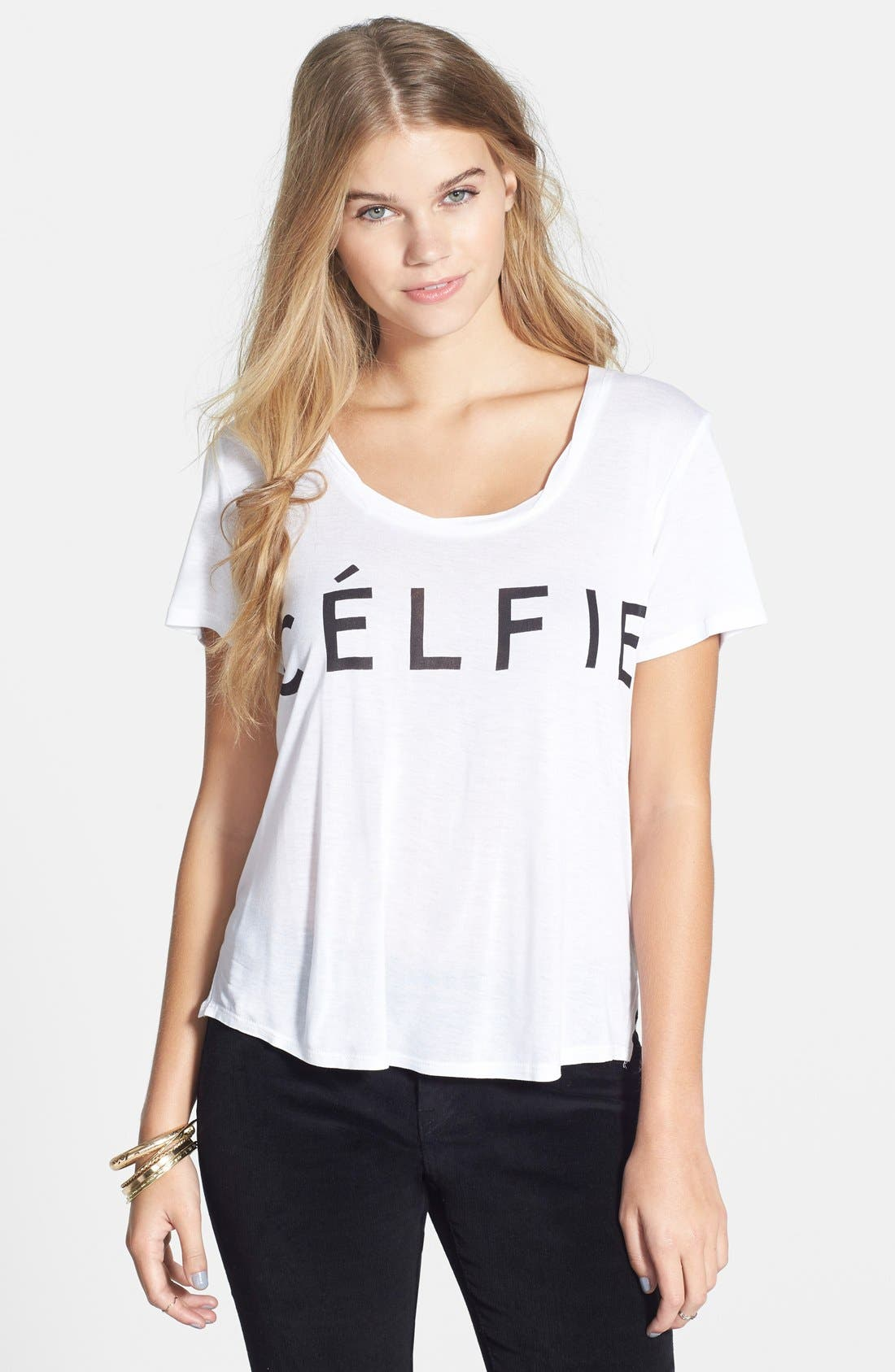 'Célfie' Graphic Tee,                             Main thumbnail 1, color,                             White