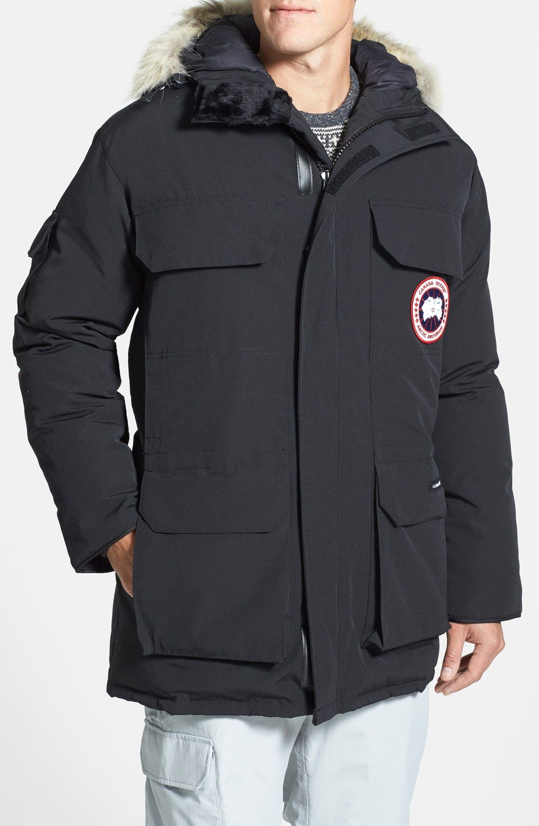 'Expedition' Relaxed Fit Down Parka,                             Main thumbnail 1, color,                             Black