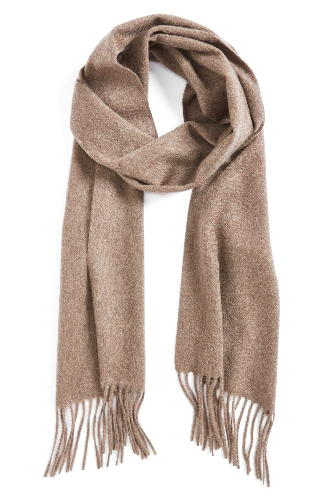 Solid Woven Cashmere Scarf,                         Main,                         color, Heather Brown
