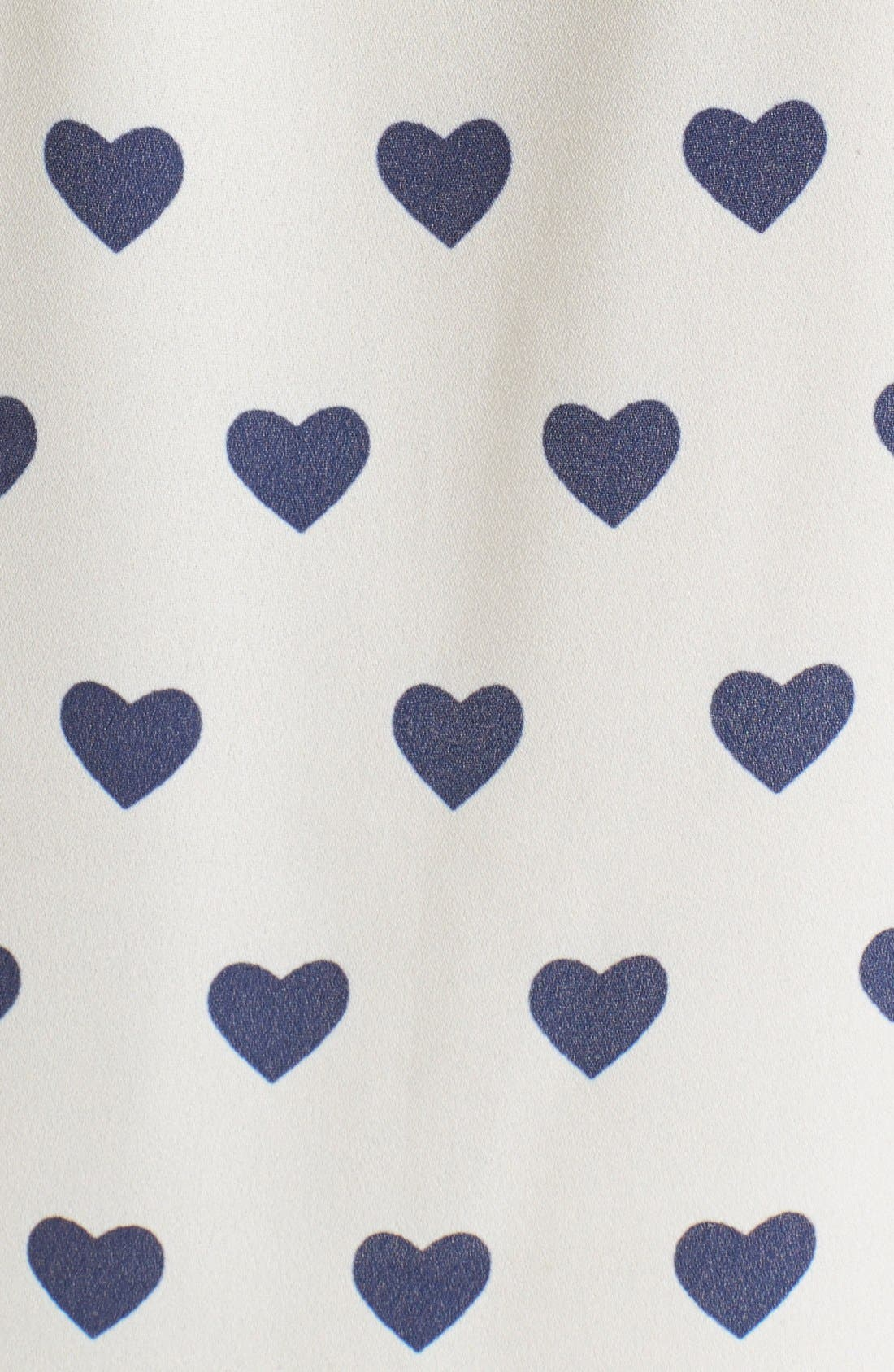Heart Button Front Shirt,                             Alternate thumbnail 3, color,                             Ivory/ Royal