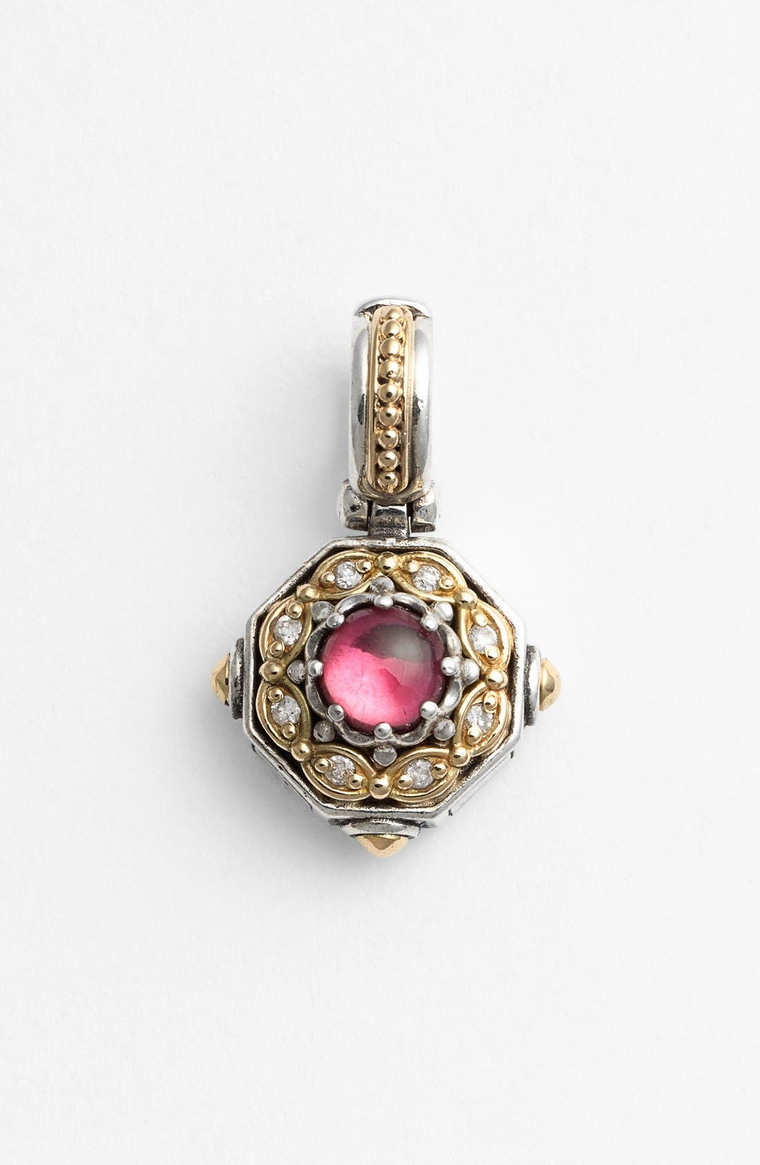 'Hermione' Stone & Diamond Pendant,                             Main thumbnail 1, color,                             Silver/ Pink