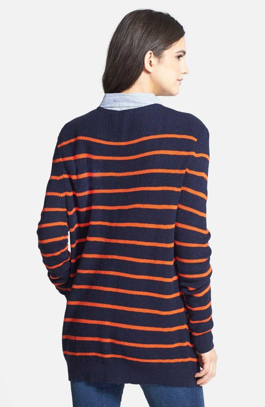 Treasure&Bond Oversize Stripe Tunic,                             Alternate thumbnail 2, color,                             Orange Cherry Morgan Stripe