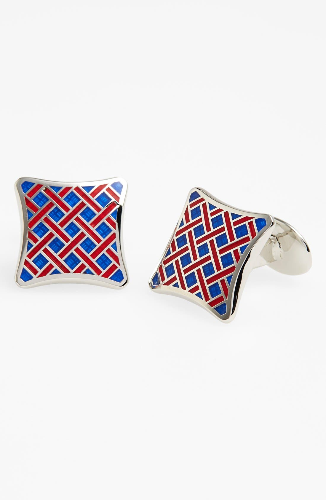 Basketweave Cuff Links,                         Main,                         color, Silver/ Blue/ Red