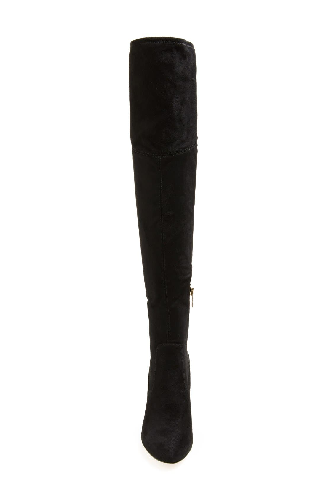 'Sarena' Over the Knee Stretch Boot,                             Alternate thumbnail 3, color,                             Black