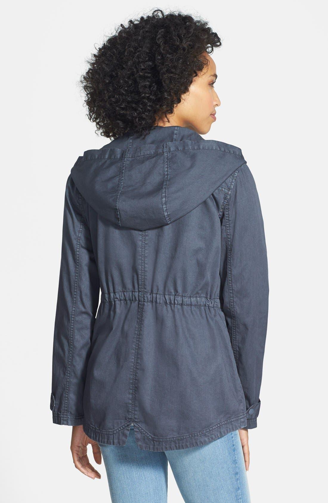 Alternate Image 2  - Caslon® Cotton Twill Hooded Jacket (Regular & Petite)