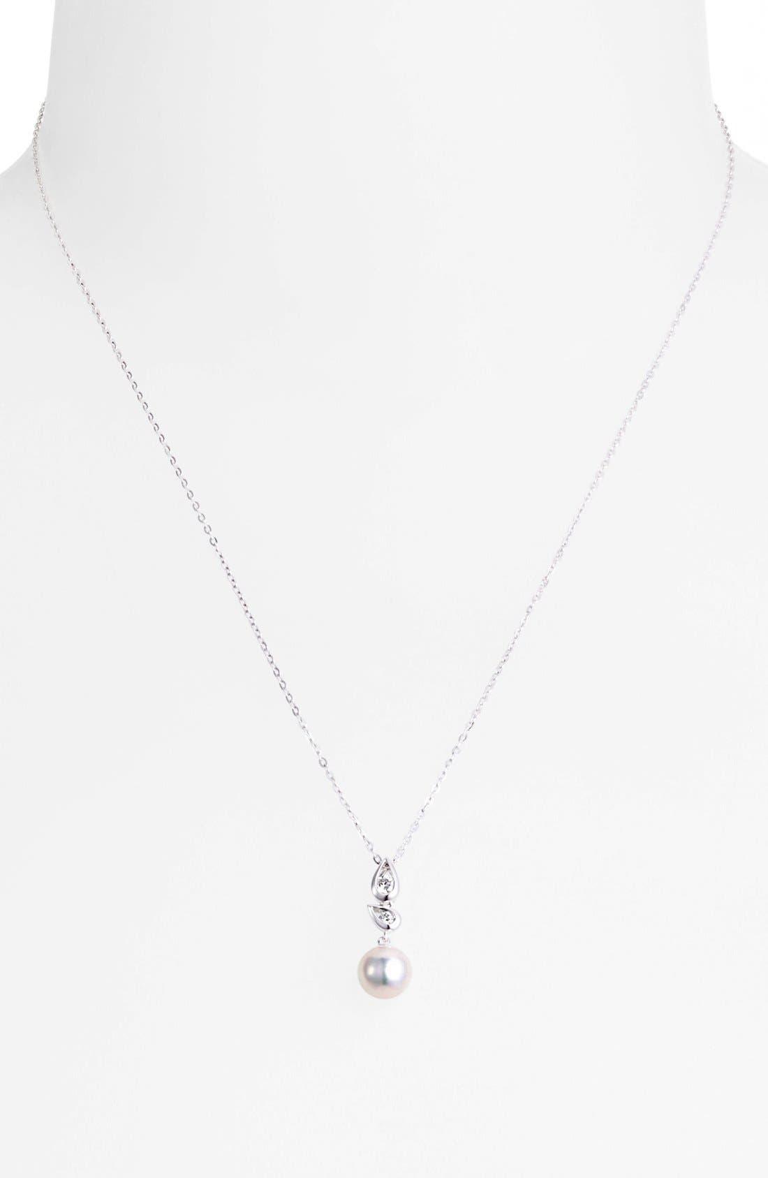 Alternate Image 2  - Mikimoto Akoya Pearl & Diamond Pendant Necklace