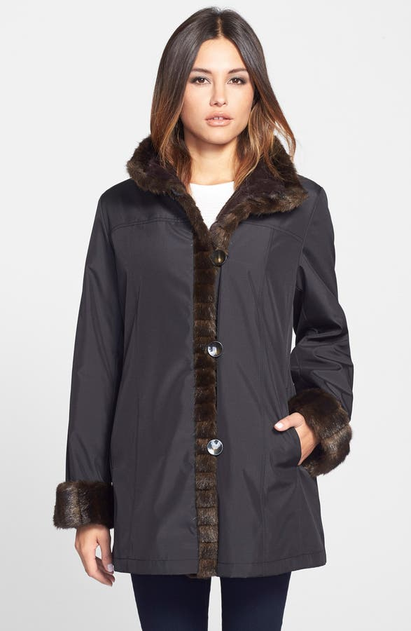 Gallery Storm Coat with Faux Fur Lining & Trim (Regular & Petite ...