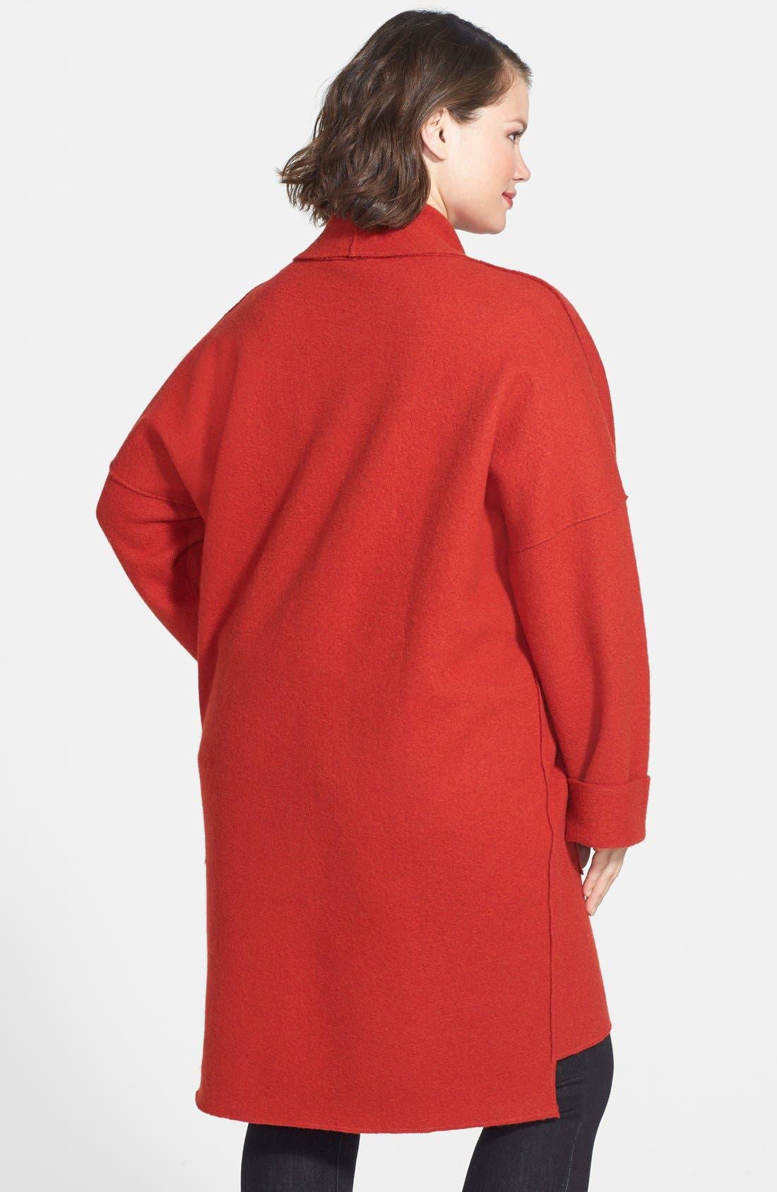 Alternate Image 2  - Eileen Fisher Boiled Wool Kimono Coat (Plus Size)